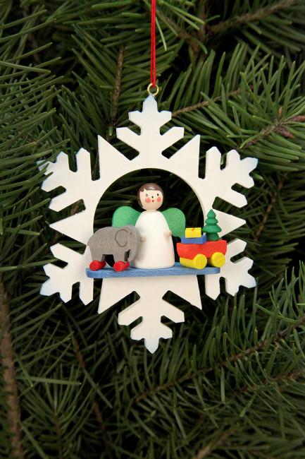 Baumbehang Schneeflocke Engel mit Spielzeug