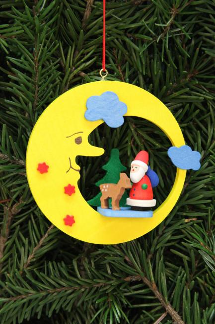 Baumbehang Weihnachtsmann mit Bambi im Mond
