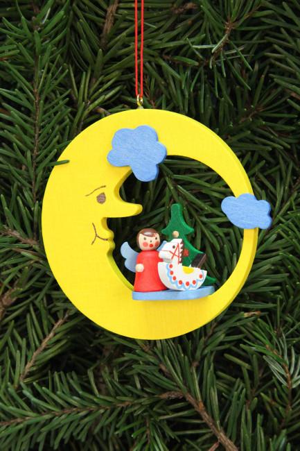 Baumbehang Engel mit Spielzeug im Mond