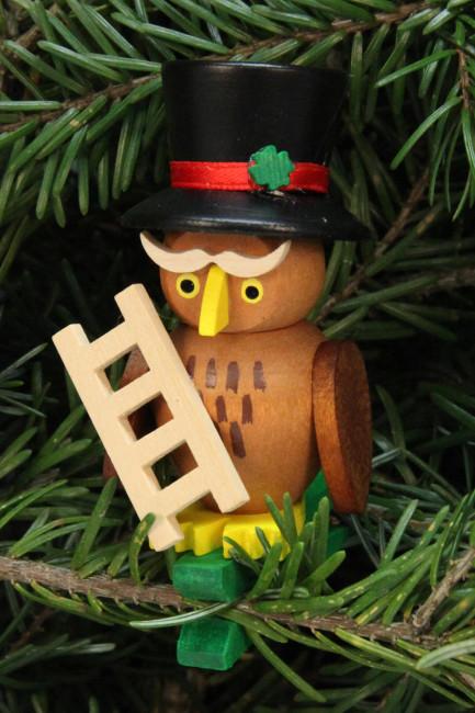 Baumbehang Eule Schornsteinfeger auf Klammer