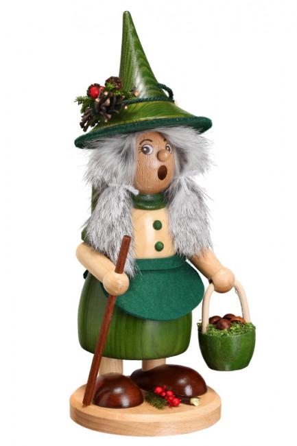 Räucherfrau Wichtelfrau mit Pilzkorb grün