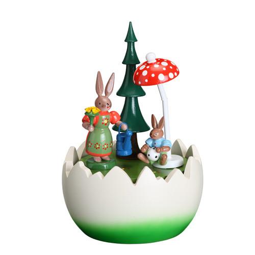 Spieldose Hasenmutti mit Hasenkind im Ei