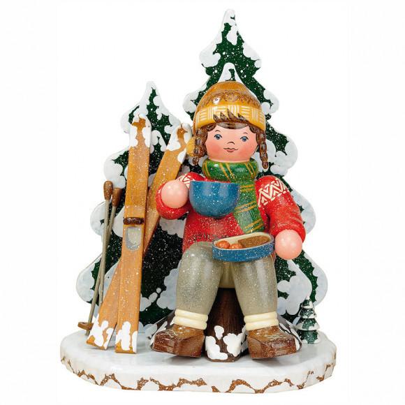 Räuchermann Winterkinder Schneeschuhfahrerin