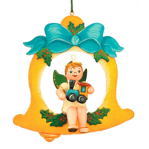 Baumbehang Engelbub mit Glocke und Lok