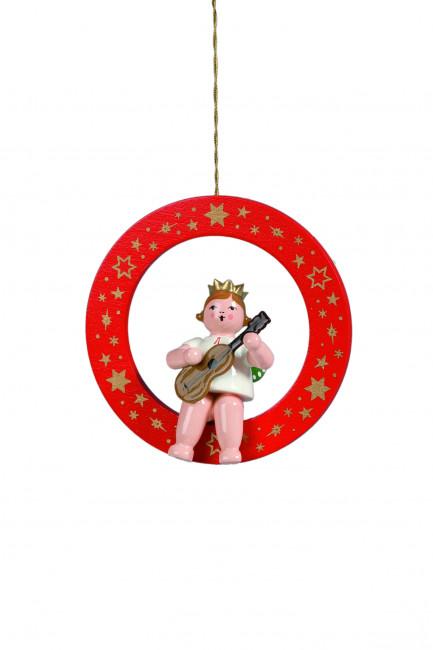 Engel mit Gitarre im roten Ring