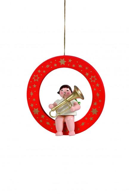 Engel mit Tuba im roten Ring