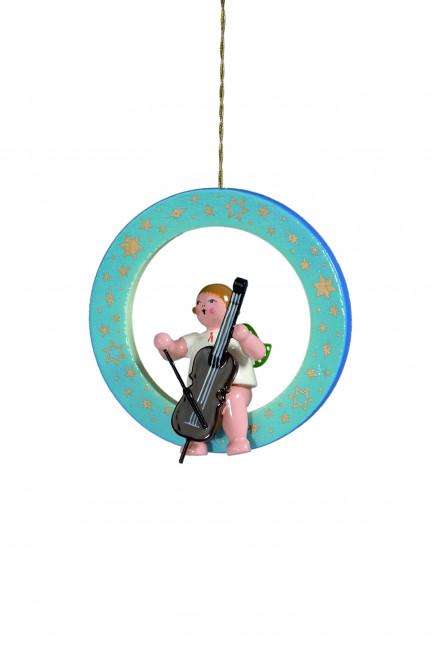 Engel mit Cello im blauen Ring