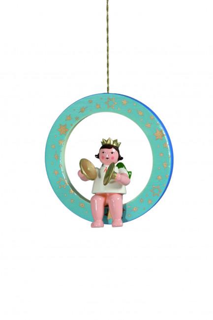 Engel mit Becken im blauen Ring