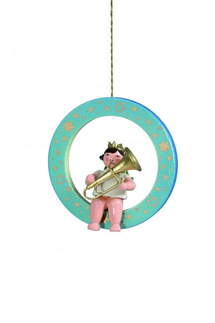 Engel mit Tuba im blauen Ring