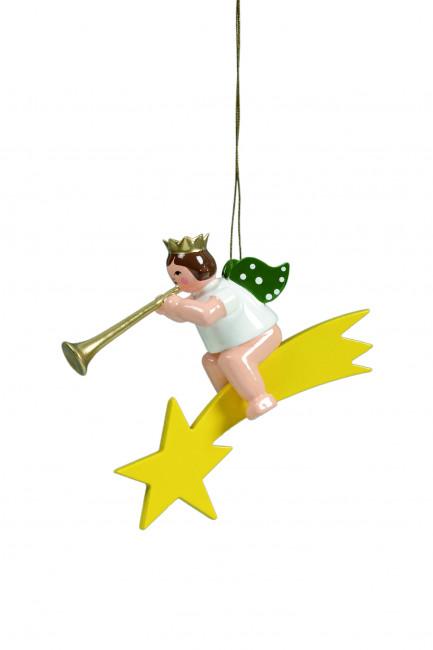 Engel mit Fanfare auf Sternschnuppe mit Krone