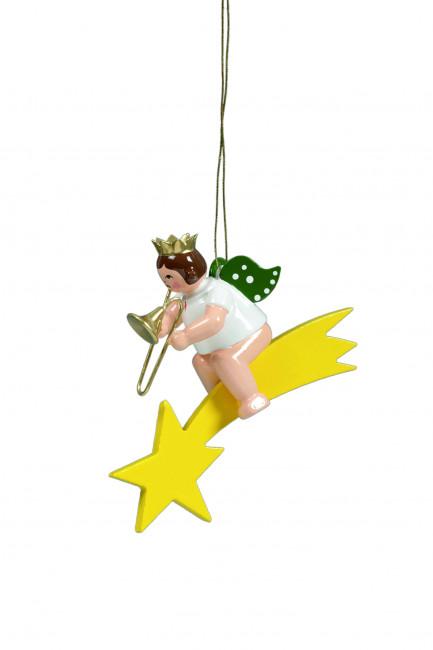 Engel mit Posaune auf Sternschnuppe mit Krone