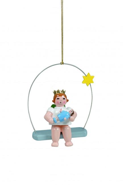 Engel mit Puppe auf Himmelsschaukel