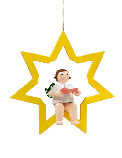 Engel im Stern mit Buch, 38 cm