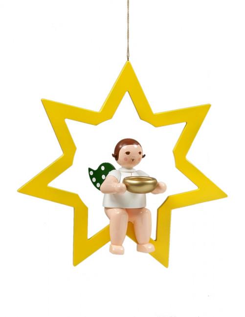 Engel im Stern mit Teelicht, 38 cm
