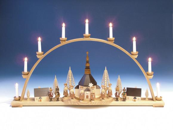 Schwibbogen Seiffener Kirche und Innenbeleuchtung, natur