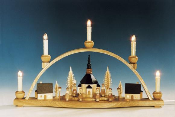 Schwibbogen Seiffener Kirche mit Innenbeleuchtung, natur