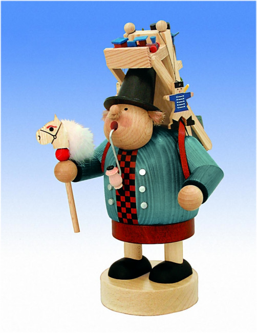 Räuchermännchen Spielzeughändler mit Rucksack
