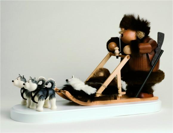 Räuchermännchen Eskimo mit Hundeschlitten