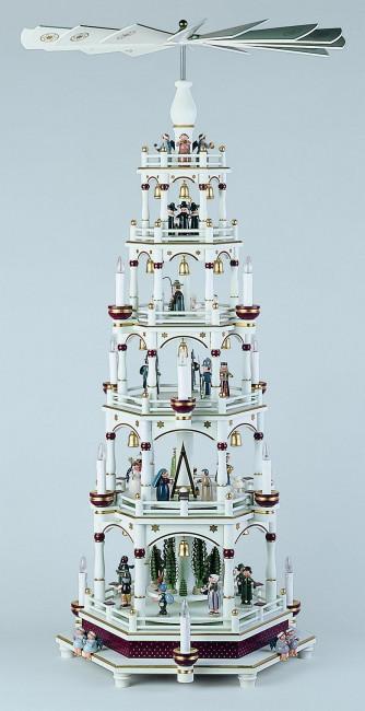 Pyramide, fünfstufig, weiß-bordeaux, elektrisch