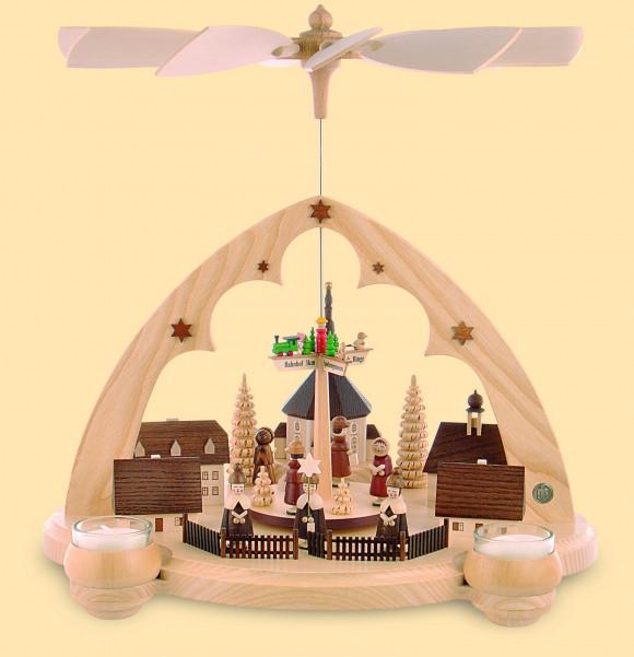 Teelicht-Pyramide Seiffener Dorf Spitzbogen