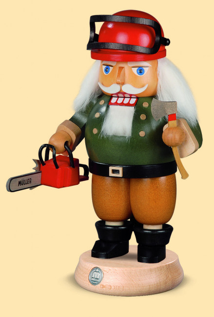 Müller Nussknacker Waldarbeiter mit Motorsäge