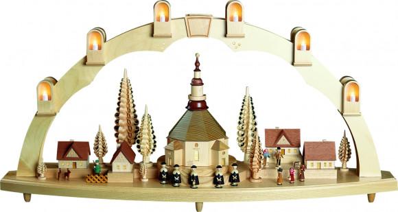 Schwibbogen Seiffener Kirche mit Dorf
