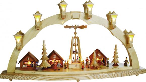 Schwibbogen Motiv Weihnachtsmarkt mit Pyramide