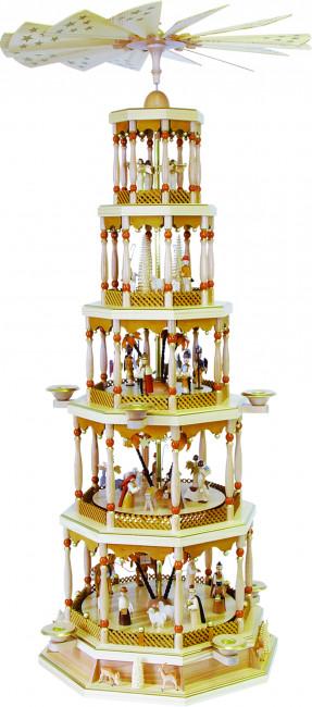 Pyramide Christi Geburt 5-stöckig natur, mit Spielwerk