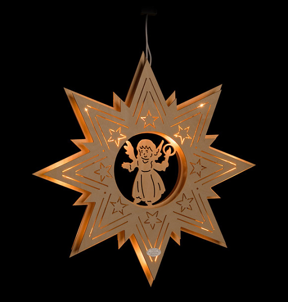 Fensterbild engel im stern erzgebirgskunst drechsel - Stern beleuchtet weihnachten ...