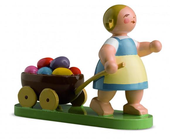 Ostermädchen mit Wagen