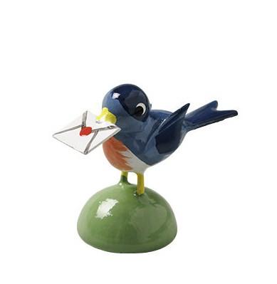 Vogel mit Brief, blau