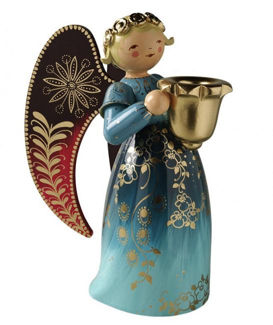Engel groß mit Lichtnapf reich bemalt blau