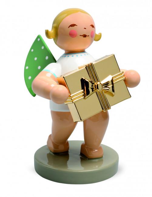Goldedition Engel mit Geschenk, braunes Haar