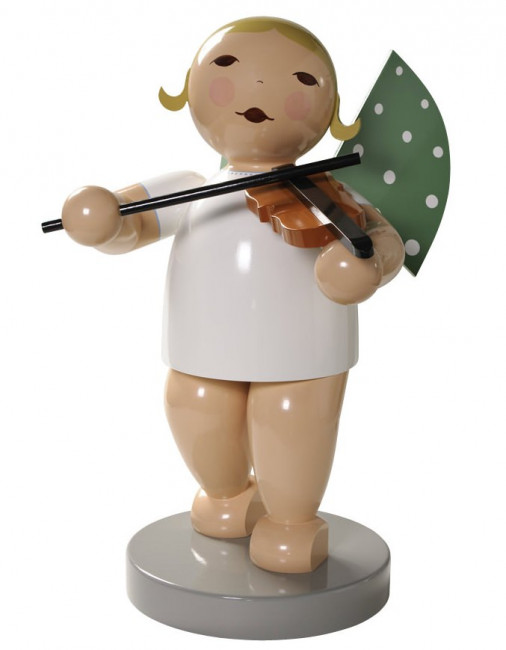 Engel gross mit Geige, 60 cm, braunes Haar