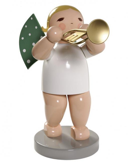 Engel gross mit Trompete, 60 cm, blondes Haar