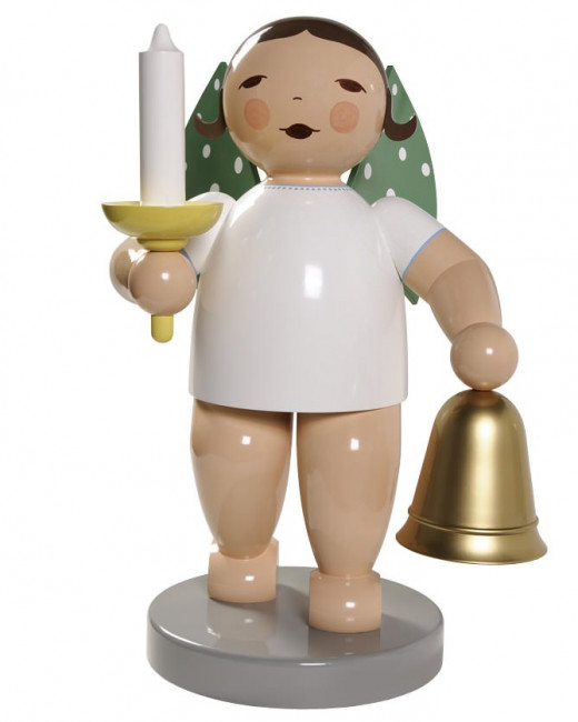 Engel gross mit Glocke und Kerze, 60 cm