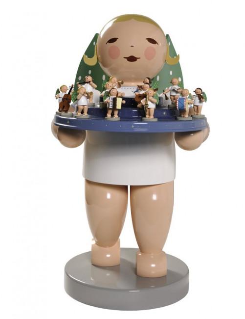 Engel gross mit Engelberg und 12 Engeln, 60 cm, blondes Haar