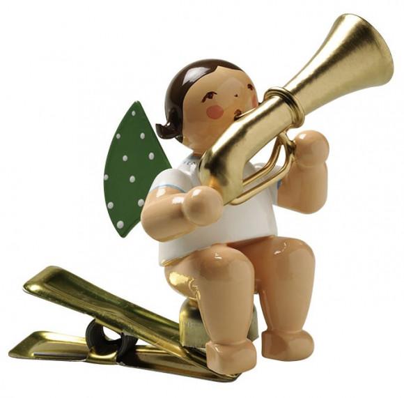 Engel mit Basstrompete auf Klemme, braunes Haar