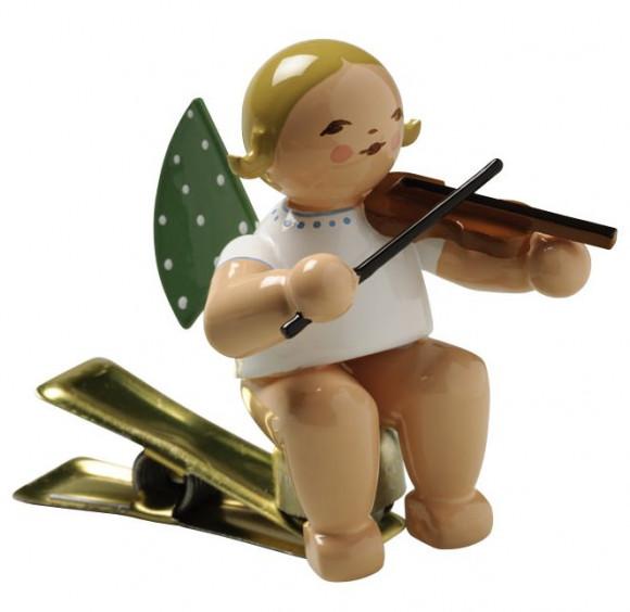 Engel mit Geige auf Klemme, braunes Haar