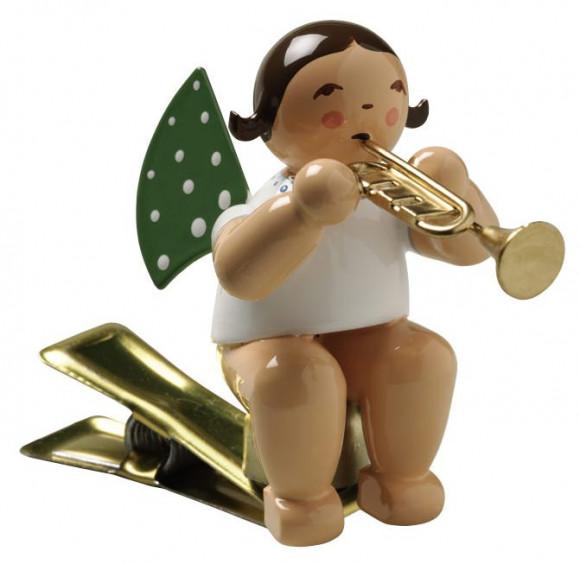 Engel mit Trompete auf Klemme, braunes Haar