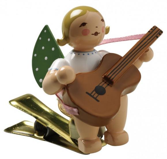 Engel mit Gitarre auf Klemme, braunes Haar