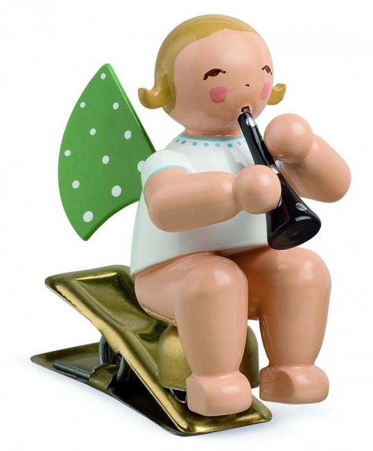 Engel mit Klarinette auf Klemme, blondes Haar