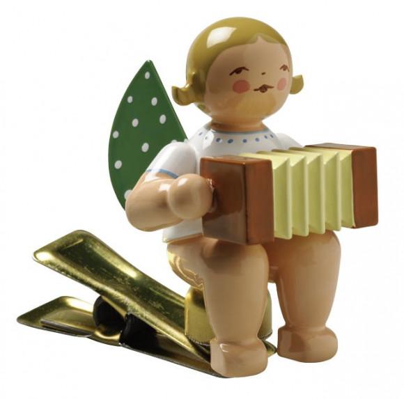 Engel mit Harmonika auf Klemme, blondes Haar