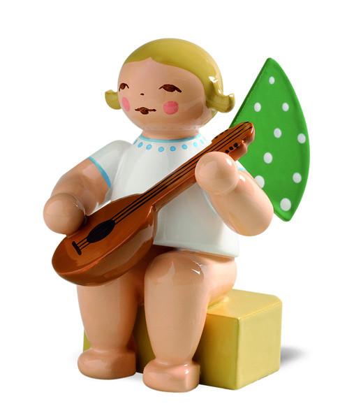 Engel klein mit Mandoline, braunes Haar