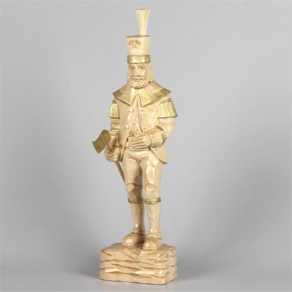 Geschnitzter Bergmann, natur/gold, 34 cm