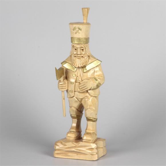 Geschnitzter Bergmann, natur/gold, 25 cm