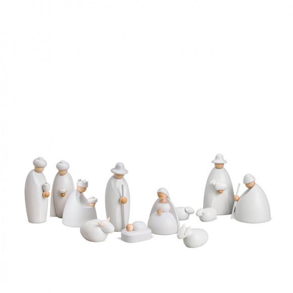 Weihnachtskrippe Krippenfiguren, 12-teilig, weiß lasiert