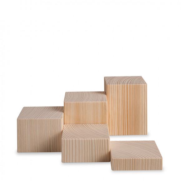 Miniatur Deko-Set, 5-teilig, Klötze sägerau, natur