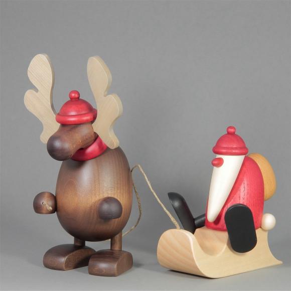 Elch Olaf mit Schlittenweihnachtsmann