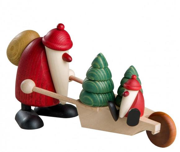 Weihnachtsmann mit Bäumen und Kind auf Schubkarre, Exklusiv-Edition